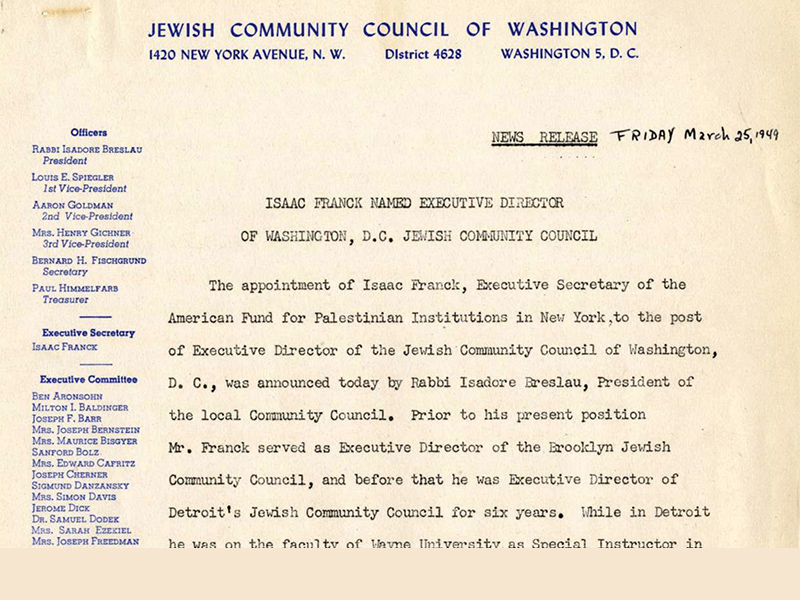 JCRC appoints Isaac Franck as Exec Dir in 1949