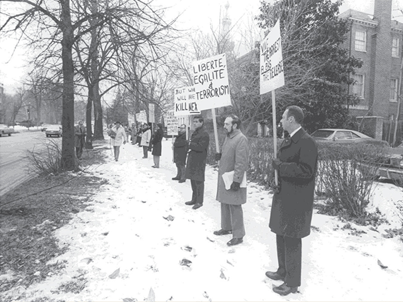 1977 protest in front of French embassy after release of terrorist